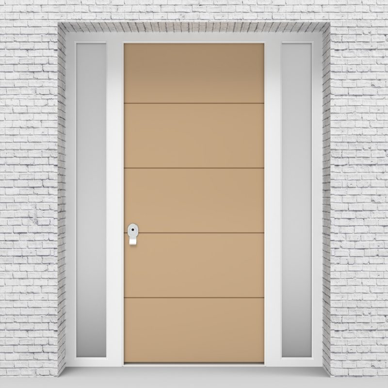 7.single Door With Two Side Panels 4 Horizontal Lines Light Ivory (ral1015)