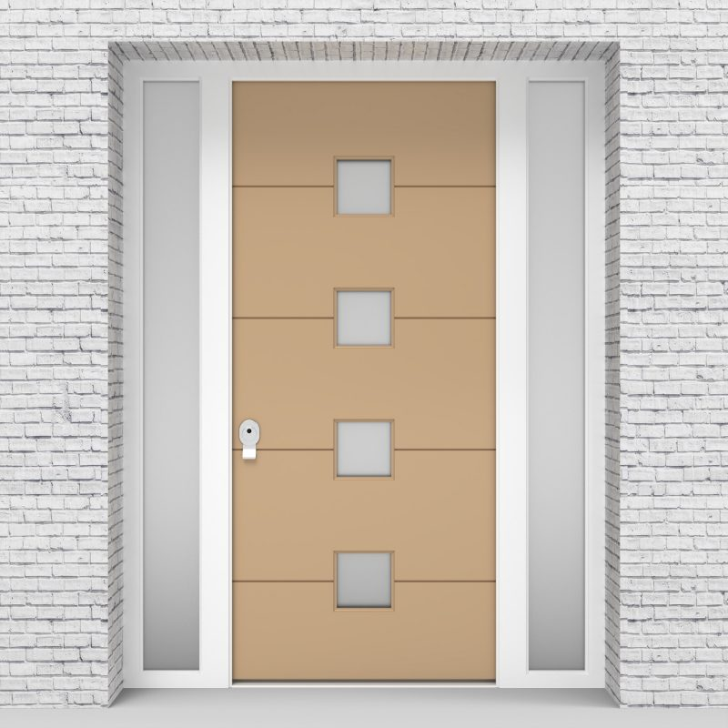 7.single Door With Two Side Panels 4 Horizontal Lines With 4 Glass Light Ivory (ral1015)