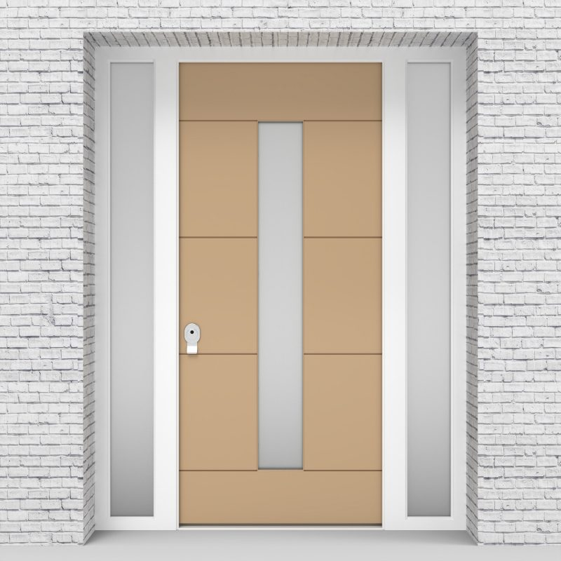 7.single Door With Two Side Panels 4 Horizontal Lines With Central Glass Light Ivory (ral1015)