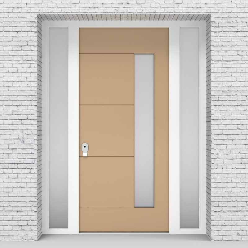 7.single Door With Two Side Panels 4 Horizontal Lines With Hinge Side Glass Light Ivory (ral1015)