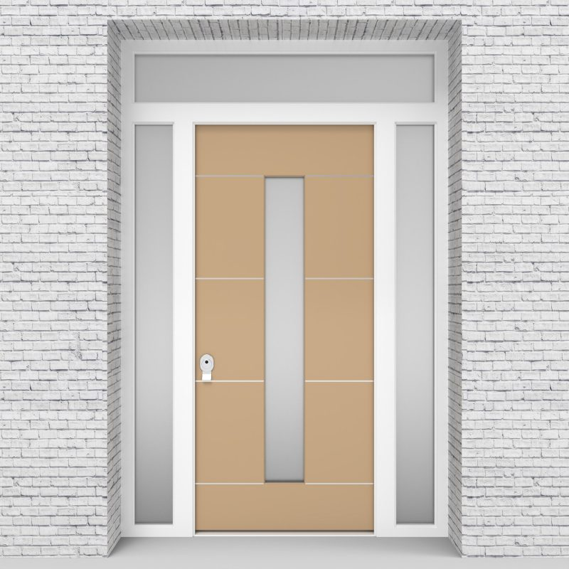 7.single Door With Two Side Panels And Transom 4 Aluminium Inlays With Central Glass Light Ivory (ral1015)