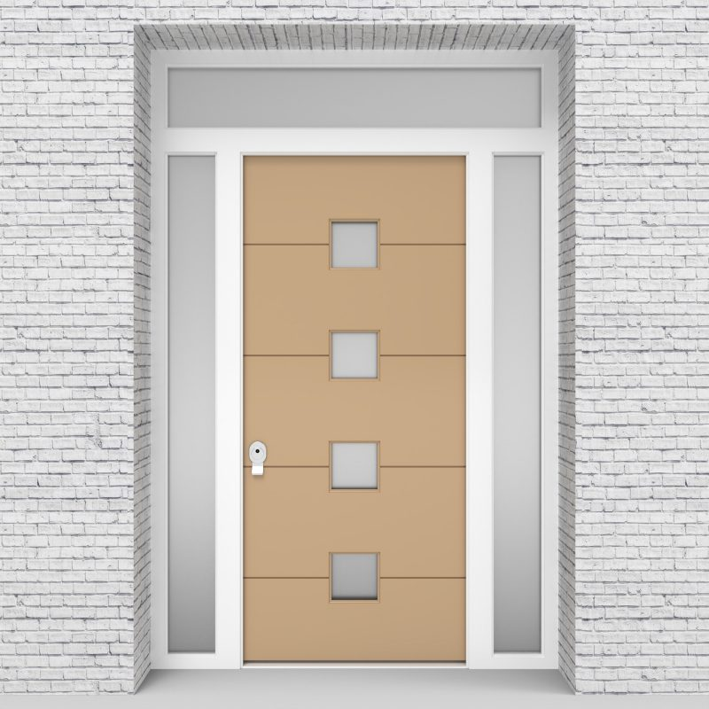 7.single Door With Two Side Panels And Transom 4 Horizontal Lines Light Ivory (ral1015)
