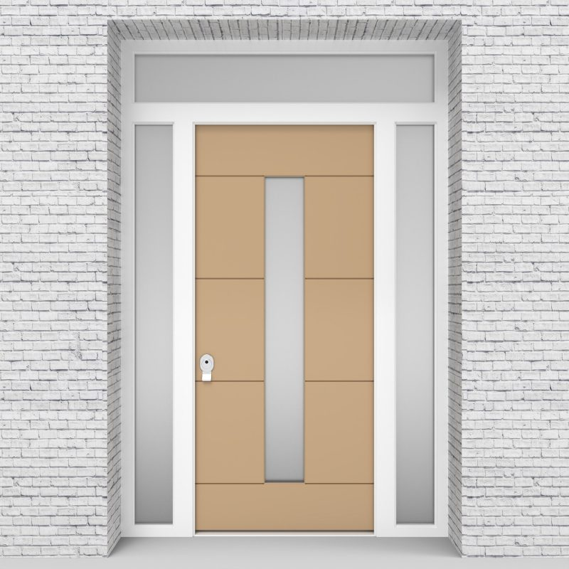 7.single Door With Two Side Panels And Transom 4 Horizontal Lines With Central Glass Light Ivory (ral1015)