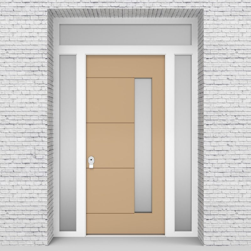 7.single Door With Two Side Panels And Transom 4 Horizontal Lines With Hinge Side Glass Light Ivory (ral1015)