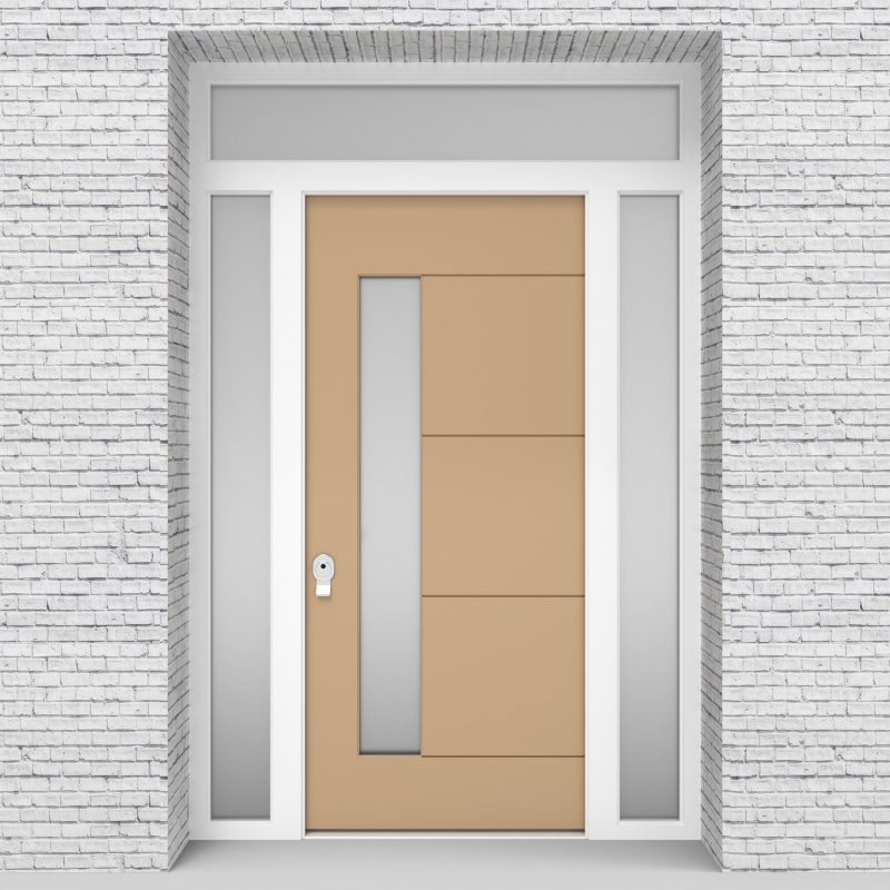 7.single Door With Two Side Panels And Transom 4 Horizontal Lines With Lock Side Glass Light Ivory (ral1015)