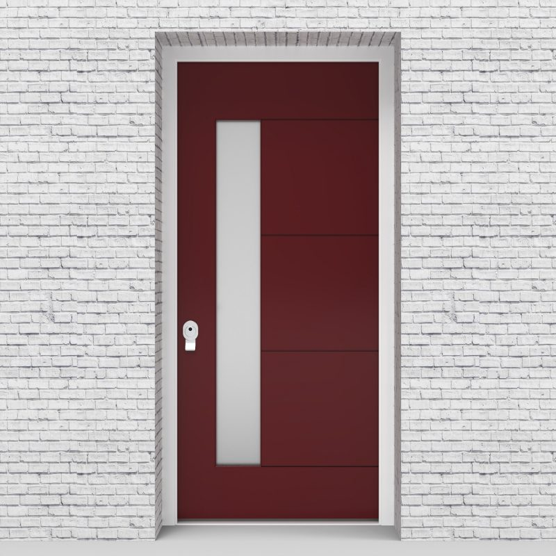 8.single 4 Horizontal Lines With Lock Side Glass Ruby Red (ral3003)