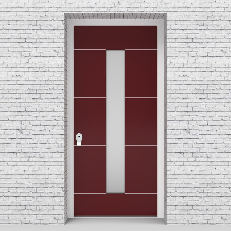 8.single Door 4 Aluminium Inlays With Central Glass Ruby Red (ral3003)