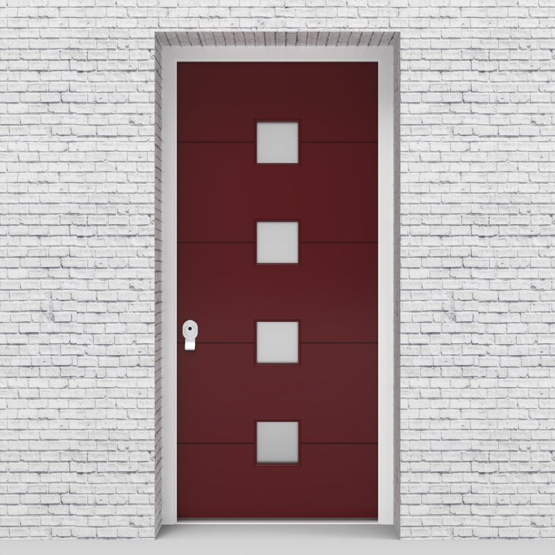 8.single Door 4 Horizontal Lines With 4 Glass Squares Ruby Red (ral3003)