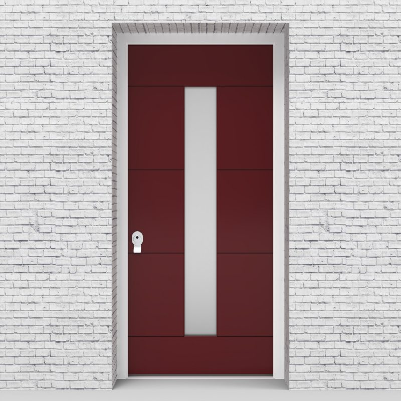 8.single Door 4 Horizontal Lines With Central Glass Ruby Red (ral3003)