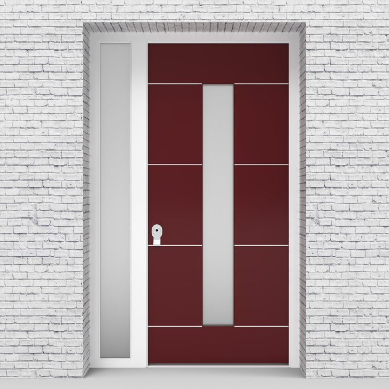 8.single Door With Left Side Panel 4 Aluminium Inlays With Central Glass Ruby Red (ral3003)