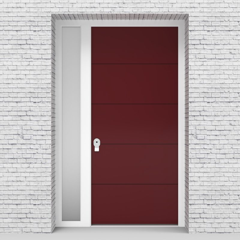 8.single Door With Left Side Panel 4 Horizontal Lines Ruby Red (ral3003)
