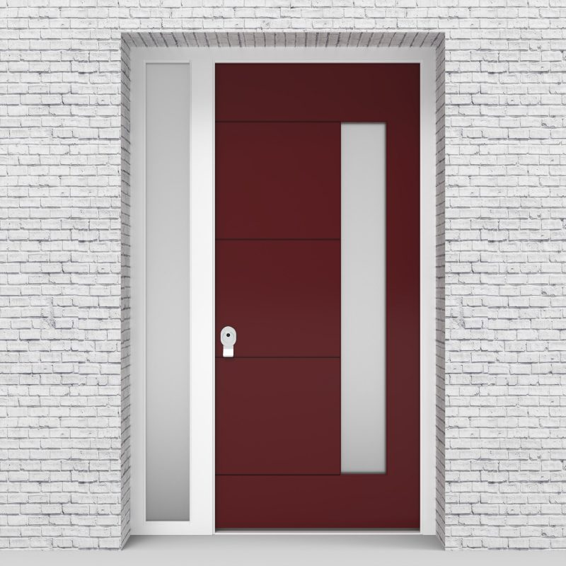 8.single Door With Left Side Panel 4 Horizontal Lines With Hinge Side Glass Ruby Red (ral3003)