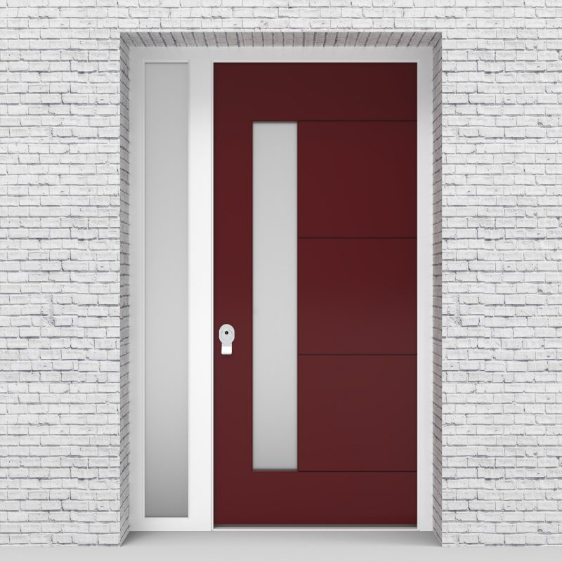 8.single Door With Left Side Panel 4 Horizontal Lines With Lock Side Glass Ruby Red (ral3003)