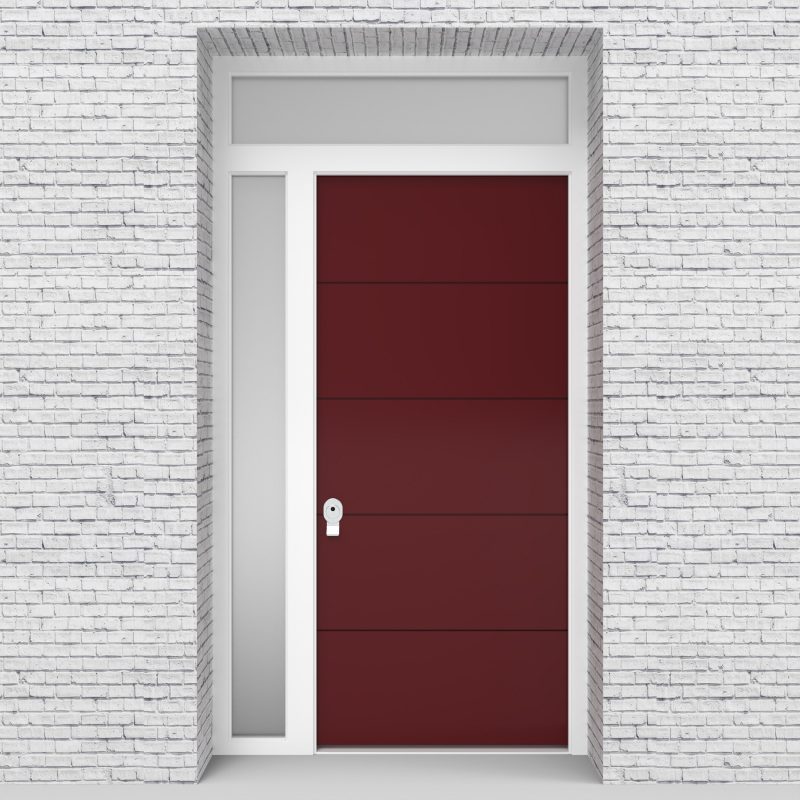 8.single Door With Left Side Panel And Transom 4 Horizontal Lines Ruby Red (ral3003)