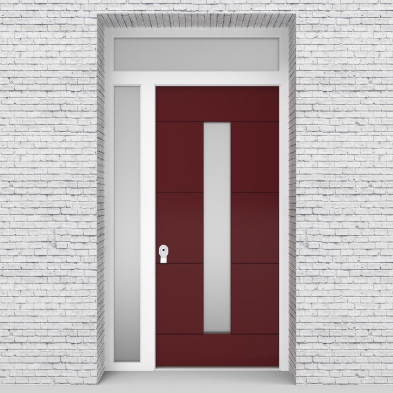 8.single Door With Left Side Panel And Transom 4 Horizontal Lines With Central Glass Ruby Red (ral3003)