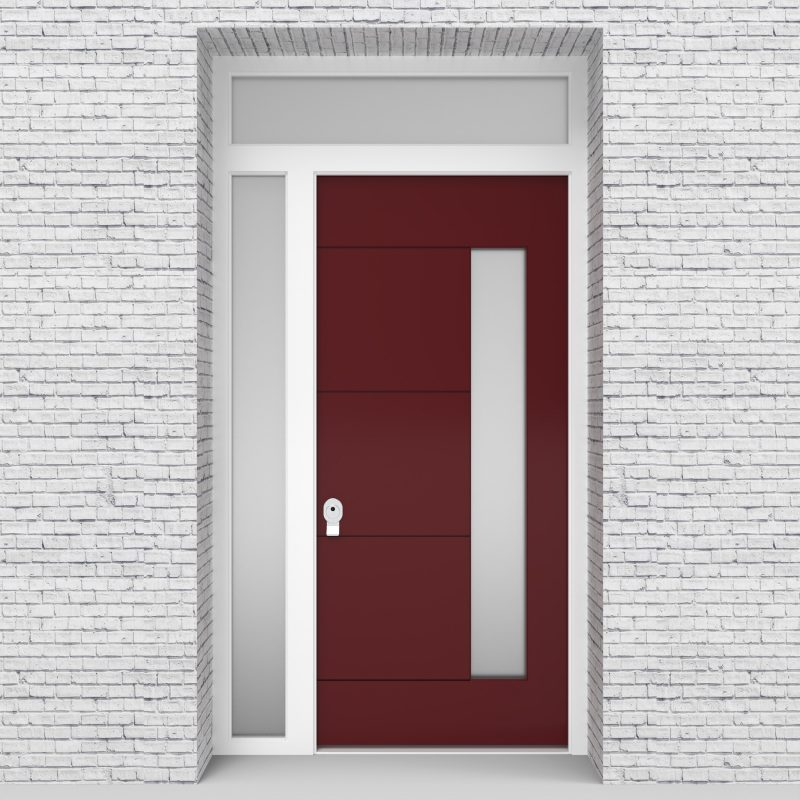 8.single Door With Left Side Panel And Transom 4 Horizontal Lines With Hinge Side Glass Ruby Red (ral3003)