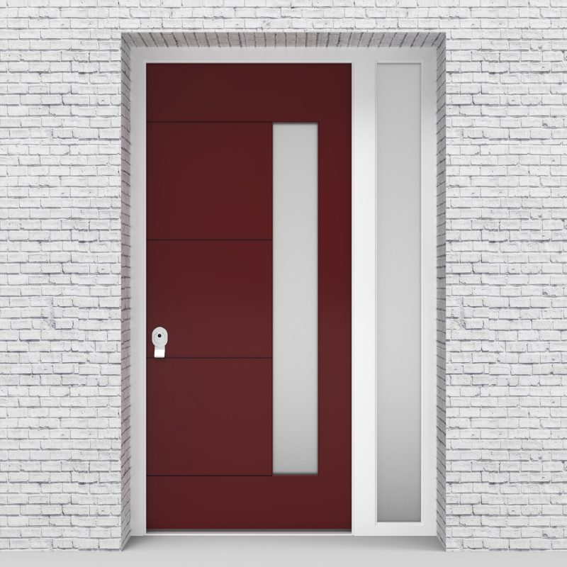 8.single Door With Right Side Panel 4 Horizontal Lines With Hinge Side Glass Ruby Red (ral3003)