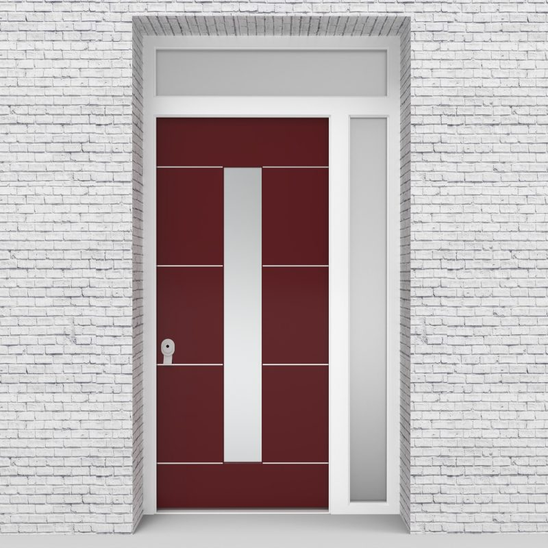 8.single Door With Right Side Panel And Transom 4 Aluminium Inlays With Central Glass Ruby Red (ral3003)