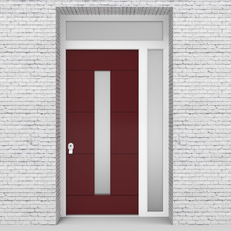 8.single Door With Right Side Panel And Transom 4 Horizontal Lines With Central Glass Ruby Red (ral3003)