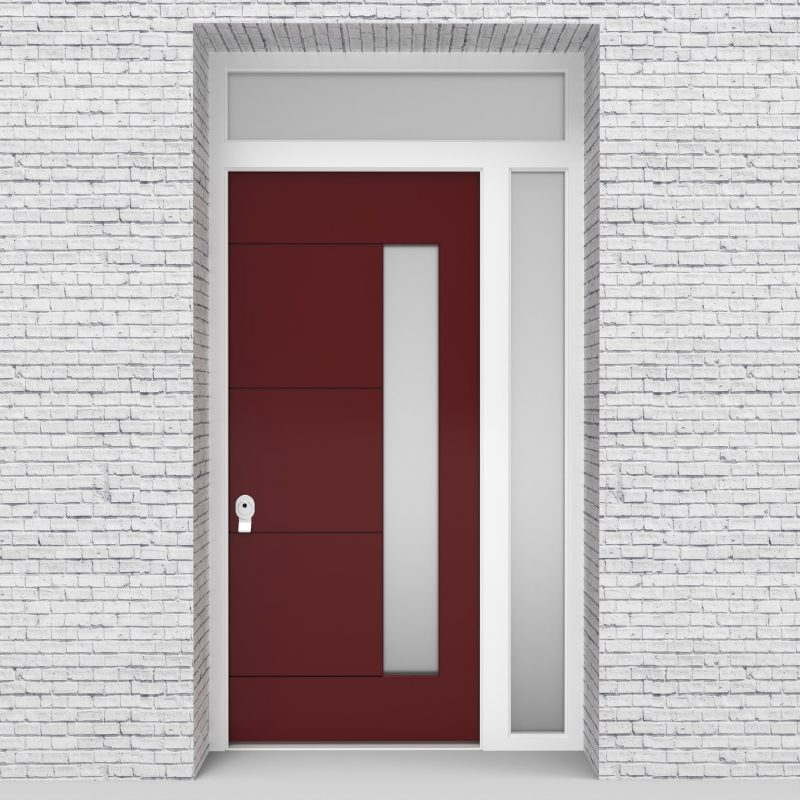 8.single Door With Right Side Panel And Transom 4 Horizontal Lines With Hinge Side Glass Ruby Red (ral3003)