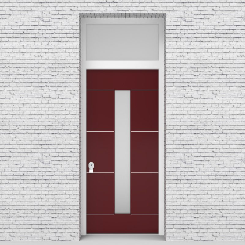 8.single Door With Transom 4 Aluminium Inlays With Central Glass Ruby Red (ral3003)