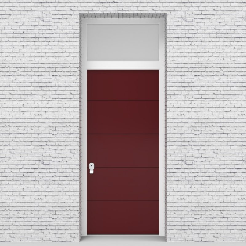 8.single Door With Transom 4 Horizontal Lines Ruby Red (ral3003)
