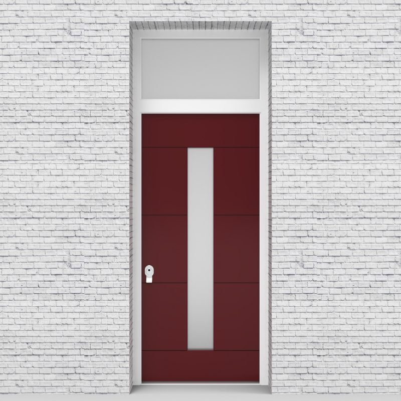 8.single Door With Transom 4 Horizontal Lines With Central Glass Ruby Red (ral3003)