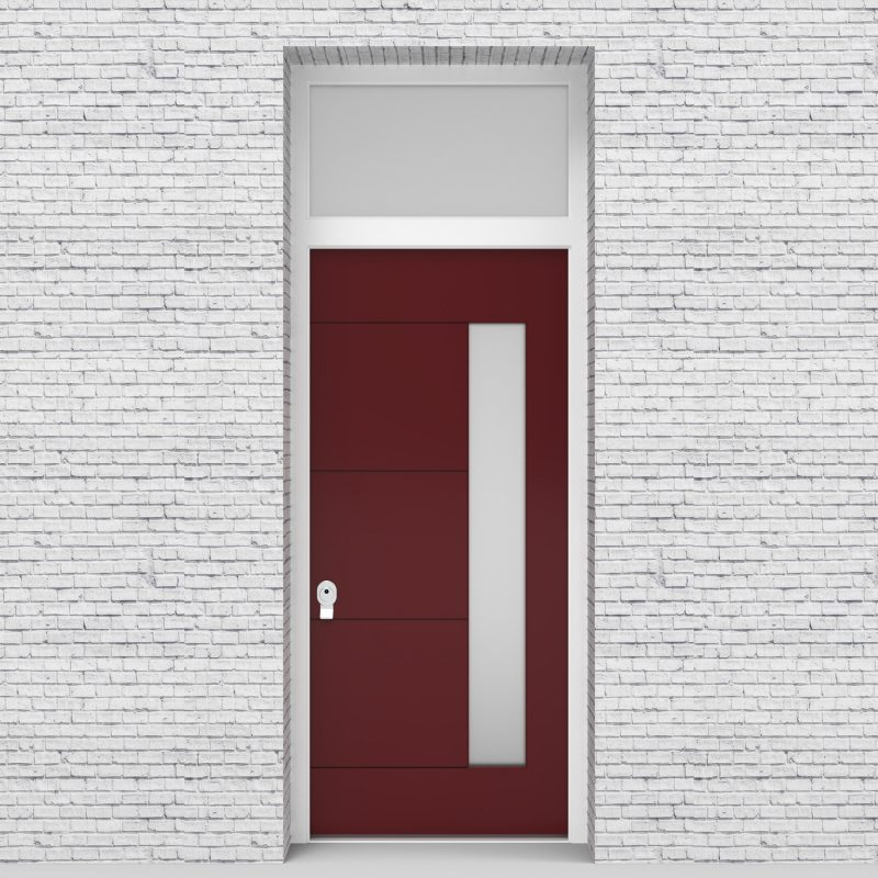 8.single Door With Transom 4 Horizontal Lines With Hinge Side Glass Ruby Red (ral3003)