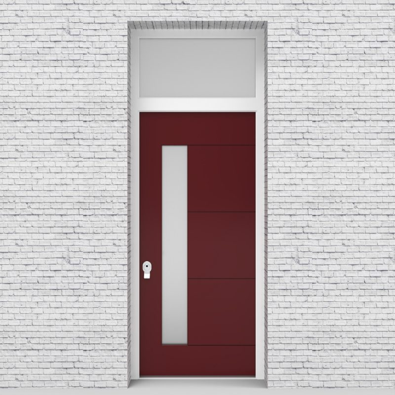 8.single Door With Transom 4 Horizontal Lines With Lock Side Glass Ruby Red (ral3003)