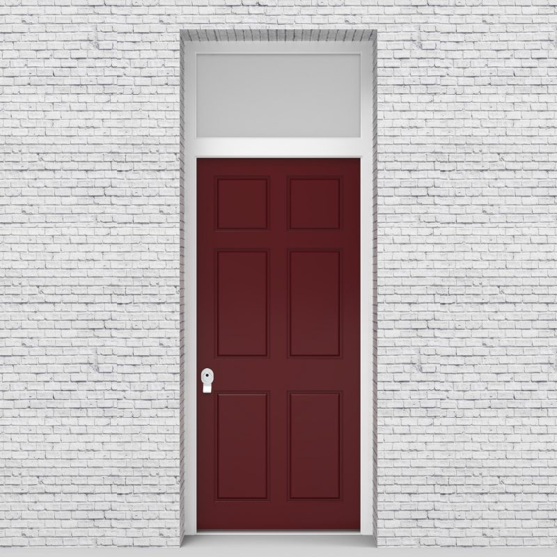 8.single Door With Transom Victorian 6 Panel Ruby Red (ral3003)