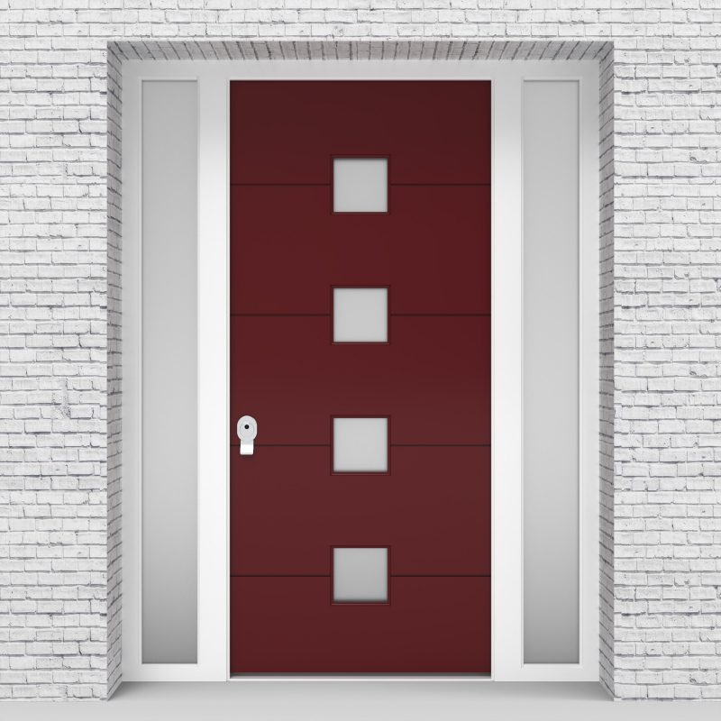 8.single Door With Two Side Panels 4 Horizontal Lines With 4 Glass Ruby Red (ral3003)