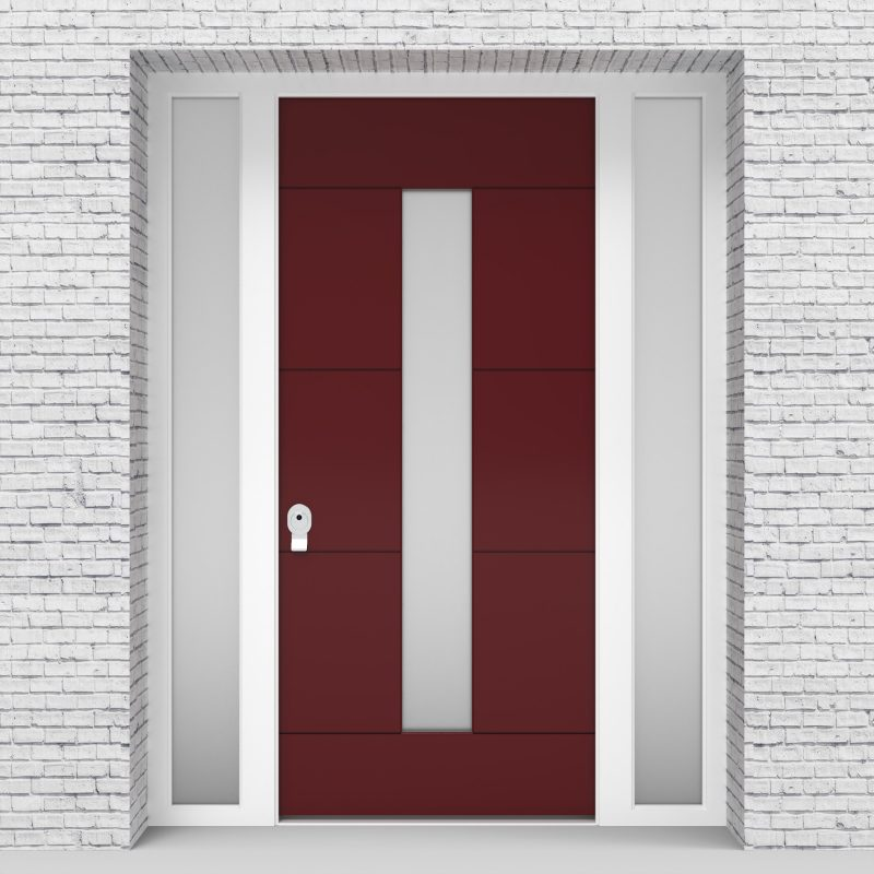 8.single Door With Two Side Panels 4 Horizontal Lines With Central Glass Ruby Red (ral3003)