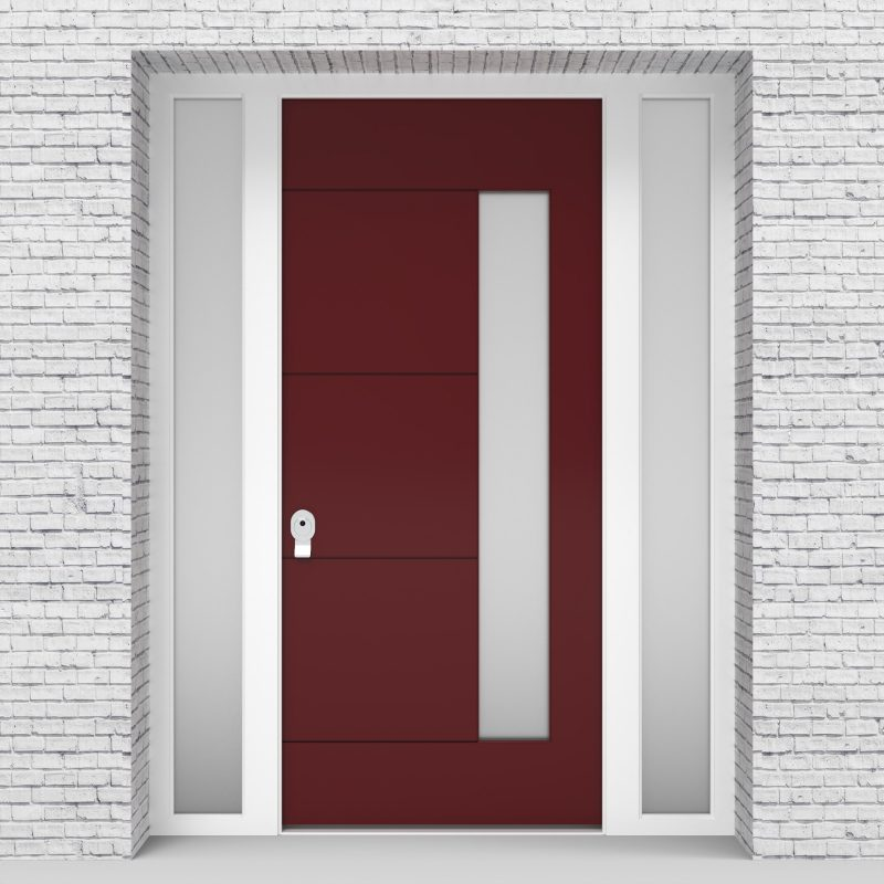 8.single Door With Two Side Panels 4 Horizontal Lines With Hinge Side Glass Ruby Red (ral3003)