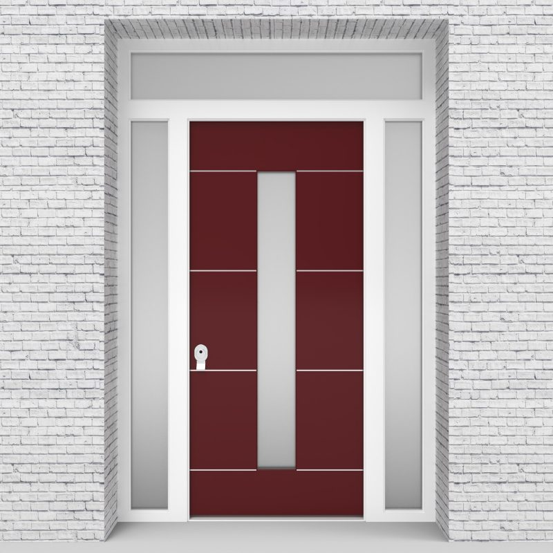 8.single Door With Two Side Panels And Transom 4 Aluminium Inlays With Central Glass Ruby Red (ral3003)