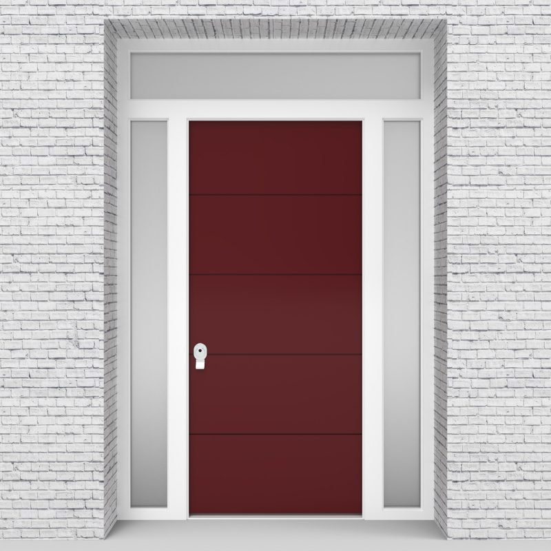 8.single Door With Two Side Panels And Transom 4 Horizontal Lines Ruby Red (ral3003)