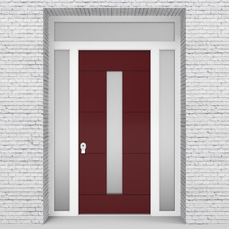 8.single Door With Two Side Panels And Transom 4 Horizontal Lines With Central Glass Ruby Red (ral3003)
