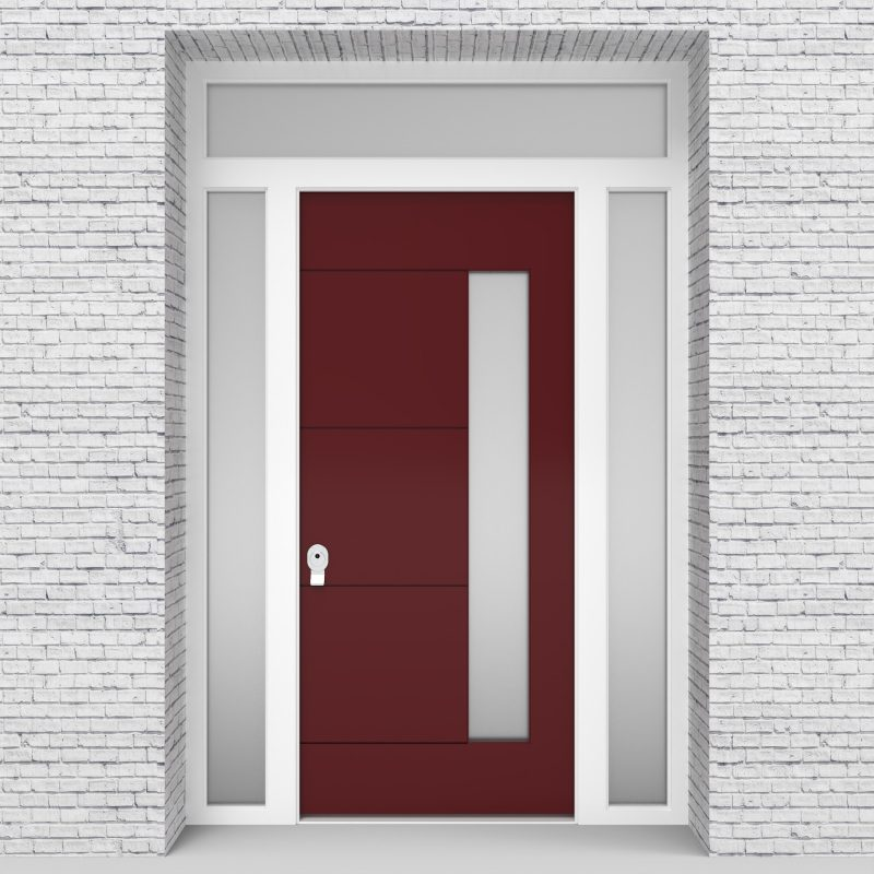 8.single Door With Two Side Panels And Transom 4 Horizontal Lines With Hinge Side Glass Ruby Red (ral3003)