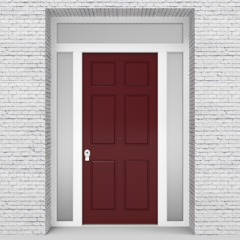 8.single Door With Two Side Panels And Transom Victorian 6 Panel Ruby Red (ral3003)