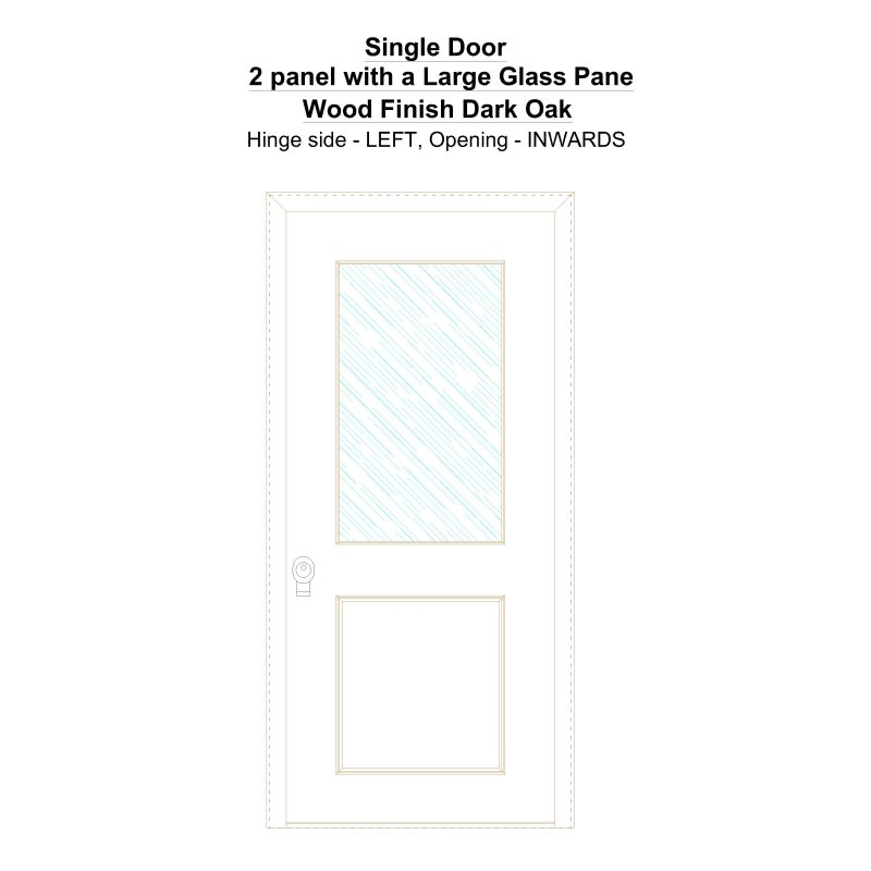 Sd 2 Panel With A Large Glass Pane Wood Finish Dark Oak Security Door