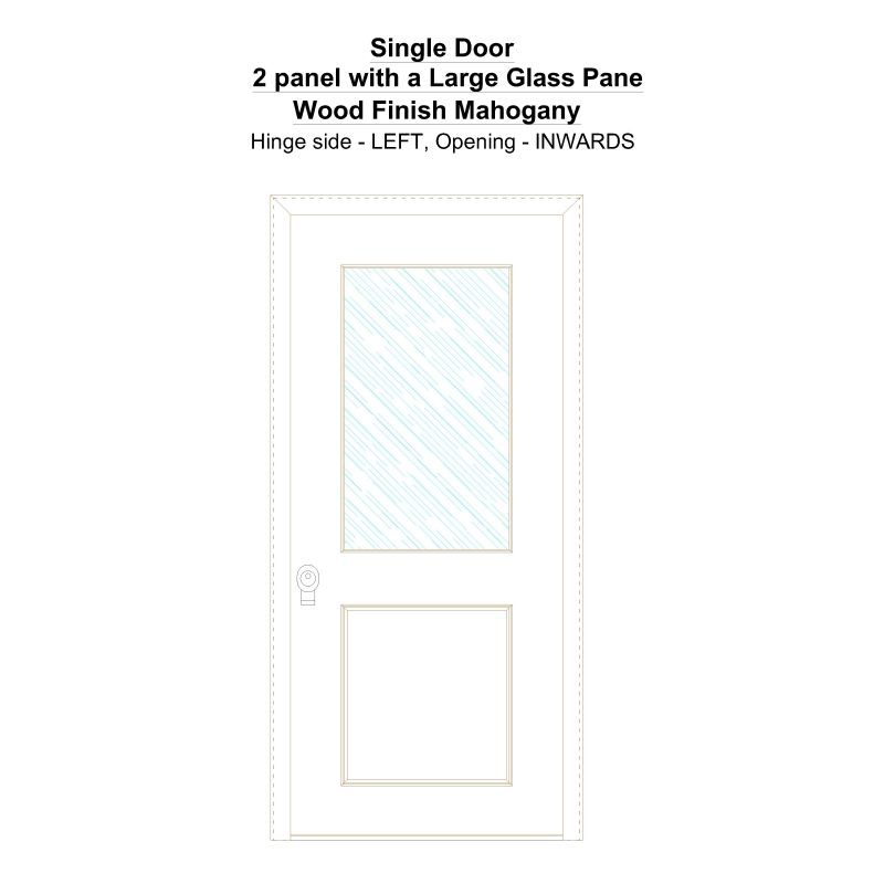 Sd 2 Panel With A Large Glass Pane Wood Finish Mahogany Security Door