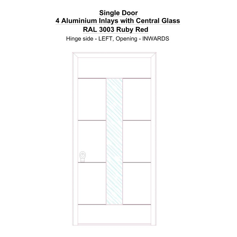 Sd 4 Aluminium Inlays With Central Glass Ral 3003 Ruby Red Security Door