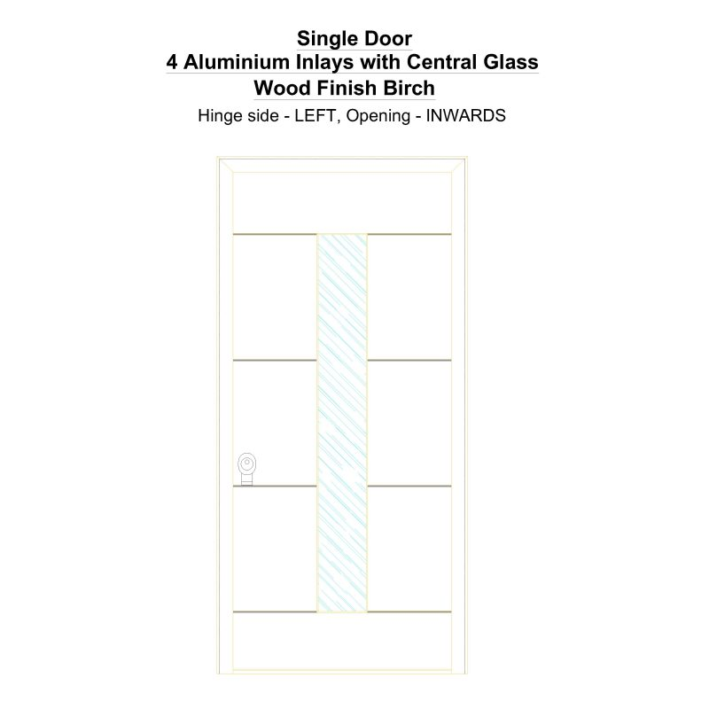 Sd 4 Aluminium Inlays With Central Glass Wood Finish Birch Security Door