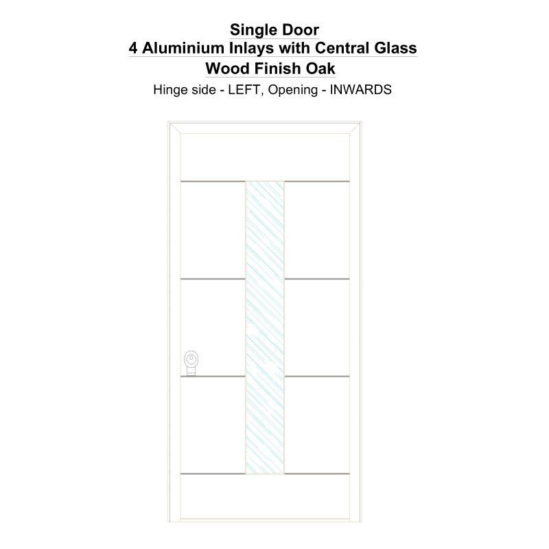 Sd 4 Aluminium Inlays With Central Glass Wood Finish Oak Security Door