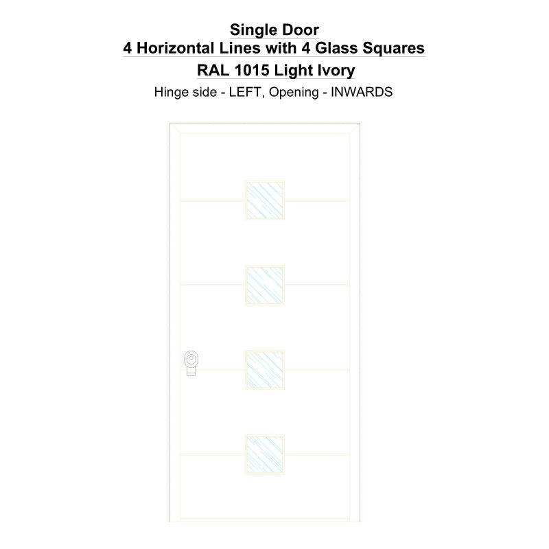 Sd 4 Horizontal Lines With 4 Glass Squares Ral 1015 Light Ivory Security Door