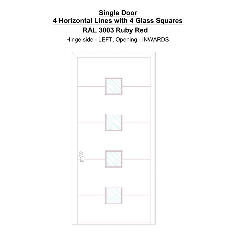 Sd 4 Horizontal Lines With 4 Glass Squares Ral 3003 Ruby Red Security Door