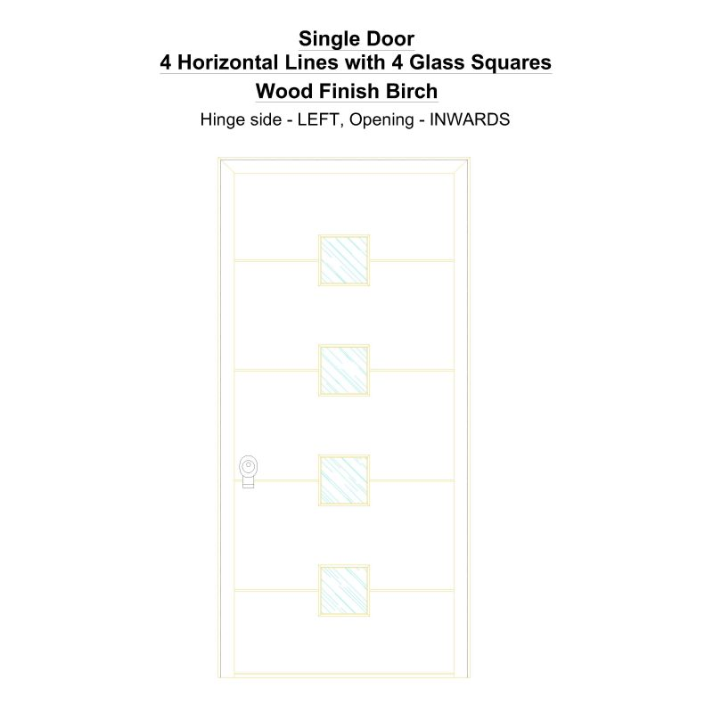 Sd 4 Horizontal Lines With 4 Glass Squares Wood Finish Birch Security Door