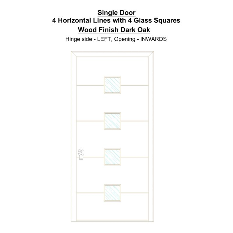 Sd 4 Horizontal Lines With 4 Glass Squares Wood Finish Dark Oak Security Door