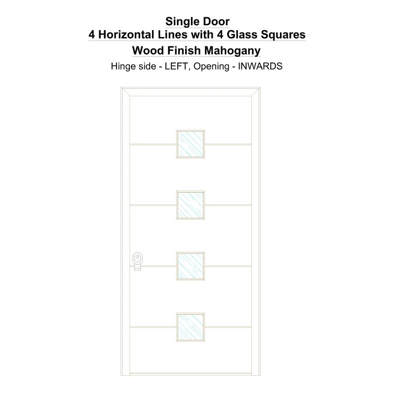 Sd 4 Horizontal Lines With 4 Glass Squares Wood Finish Mahogany Security Door
