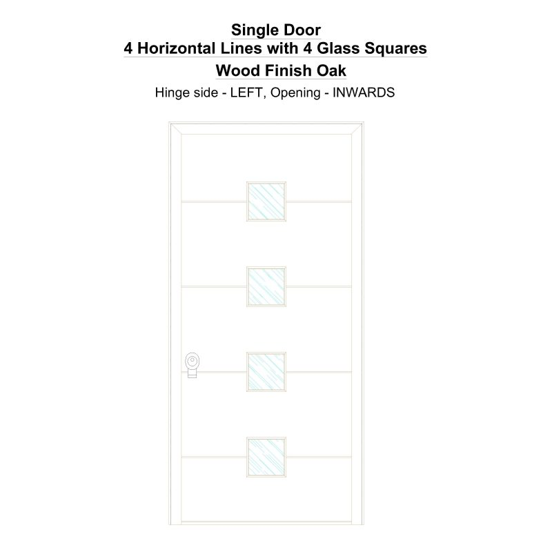 Sd 4 Horizontal Lines With 4 Glass Squares Wood Finish Oak Security Door