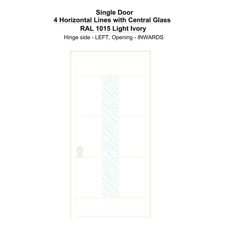 Sd 4 Horizontal Lines With Central Glass Ral 1015 Light Ivory Security Door